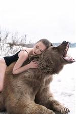 Girl sleep on bear back, roar, winter, snow