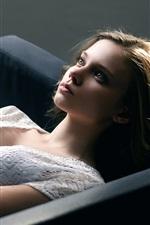 Preview iPhone wallpaper Girl sleep on sofa, white skirt