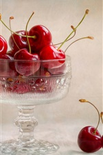 Preview iPhone wallpaper Glass cup, red cherries