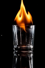 Preview iPhone wallpaper Glass cups, fire, black background