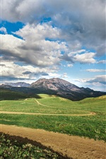 Preview iPhone wallpaper Grass, path, mountains, clouds, sky