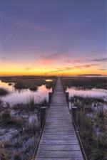 Preview iPhone wallpaper Grass, wood bridge, water, sunset