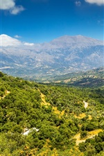 Preview iPhone wallpaper Greece, island, Crete, mountains, trees, top view