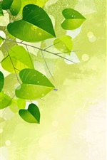 iPhone обои Зеленые листья, ветки, блики, векторный дизайн