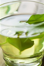 Preview iPhone wallpaper Green tea, glass cup
