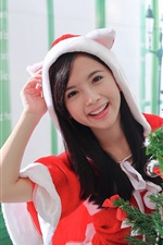 Preview iPhone wallpaper Happy Asian girl, Christmas dress