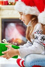 Happy child girl and teddy bear, gift, Christmas