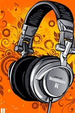 Preview iPhone wallpaper Headphones, music, vector