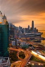 Preview iPhone wallpaper Hong Kong, dock, dusk, skyscrapers, lights, road