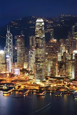 Preview iPhone wallpaper Hong Kong, evening, night, city, bay, skyscrapers, lights