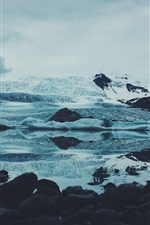 Ice, stones, snow, clouds, winter