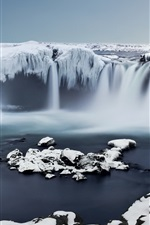 Preview iPhone wallpaper Iceland, Godafoss, Ice, waterfall, snow