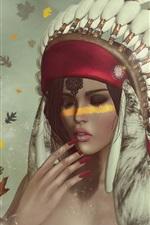Indian girl, feathers, eagle, fantasy art
