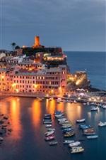 Preview iPhone wallpaper Italy, Cinque Terre, Ligurian Sea, boats, dock, lights