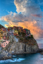 Preview iPhone wallpaper Italy, Cinque Terre, Manarola, sea, buildings, houses, clouds