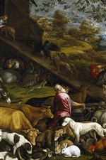 Preview iPhone wallpaper Jacopo Bassano, mythology, oil painting, animals, Noah