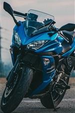 Kawasaki motorcycle, blue, dusk