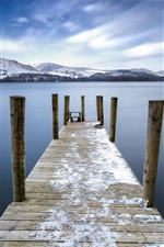 Preview iPhone wallpaper Keswick, England, bridge, pier, lake, mountains, clouds