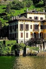 Preview iPhone wallpaper Lake Como, villa, slope, trees, Italy