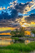 Lake, trees, grass, house, clouds, sunset