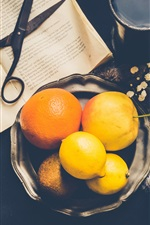 Preview iPhone wallpaper Lemon, oranges, eggs, coffee, book, scissors