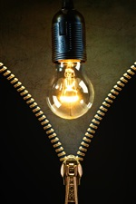 Preview iPhone wallpaper Light bulb, zipper, creative