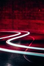 Light lines, road, night