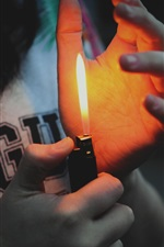 Preview iPhone wallpaper Lighter, flame, hands