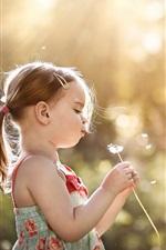 Preview iPhone wallpaper Little girl play dandelion, summer