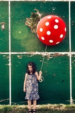 Preview iPhone wallpaper Little girl, red balloon, wall, board