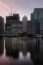 Preview iPhone wallpaper London, England, Canary Wharf, twilight, sunset, skyscrapers, river, boats