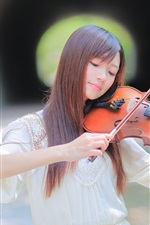 Preview iPhone wallpaper Long hair Asian girl play violin, bokeh