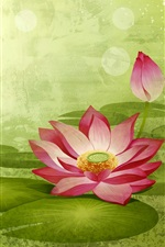Preview iPhone wallpaper Lotus painting, green background