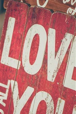 Preview iPhone wallpaper Love You, inscription, wood board