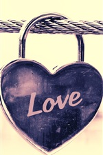 Preview iPhone wallpaper Love heart lock, wire
