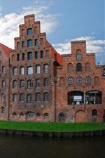 Preview iPhone wallpaper Lubeck, Germany, bridge, river, buildings