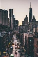 Preview iPhone wallpaper Manhattan, New York, One World Trade Center, street, skyscrapers, cars, USA