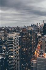 Preview iPhone wallpaper Manhattan, New York, USA, street, skyscraper, dusk, clouds
