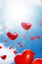 Preview iPhone wallpaper Many love hearts balloons flight, glare, sun, clouds
