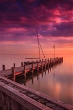 Preview iPhone wallpaper Marina, dawn, lake, sunrise, clouds