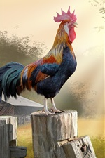 Preview iPhone wallpaper Morning, rooster, trees, hut, art picture
