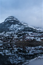Preview iPhone wallpaper Mountain, lake, water reflection, houses, snow, winter