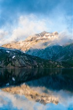 Preview iPhone wallpaper Mountains, fog, lake, sky, clouds