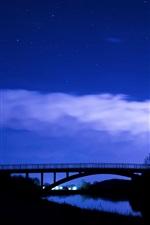 Night, bridge, river, light, blue