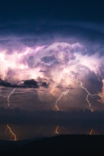 Preview iPhone wallpaper Night, lightning, silhouettes, storm, clouds