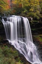 Preview iPhone wallpaper North Carolina, waterfall, autumn, trees, USA