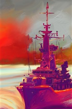 Preview iPhone wallpaper Oil painting, ship, sea, sunset, colorful