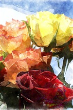 Preview iPhone wallpaper One bouquet roses, different colors, watercolor painting