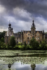 Preview iPhone wallpaper Ooidonk Castle, Belgium, trees, pond, clouds