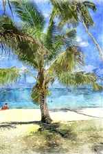 Preview iPhone wallpaper Palm trees, sea, beach, watercolor painting